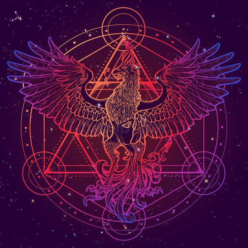 O desenho de esboço da estrela de Phoenix e de David isolada na aquarela textured o fundo ilustração stock