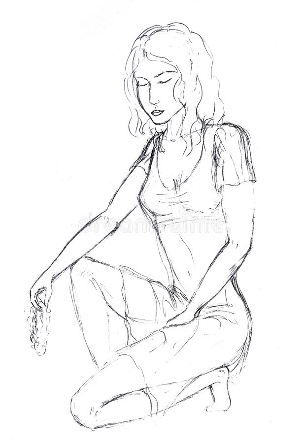 O desenho de lápis, a menina sentou-se em um joelho com um grupo de uvas em sua mão e fechou-se seus olhos ilustração royalty free