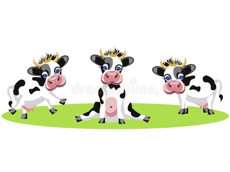 O desenho de três vacas diferentes, engraçado, bebê manchou animais No estilo minimalista Vetor liso dos desenhos animados ilustração royalty free