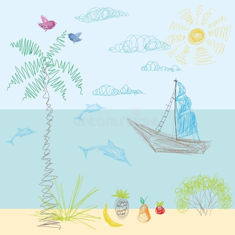 O desenho de uma criança no vetor Sun, mar, praia, navegando afastado, vaca ilustração do vetor