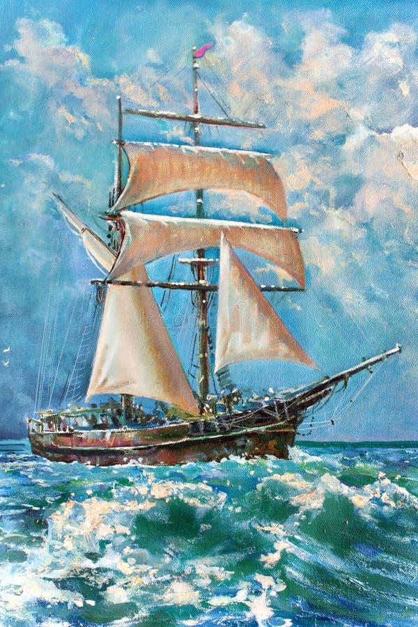 O desenho do barco está sob a vela, pintura imagem de stock
