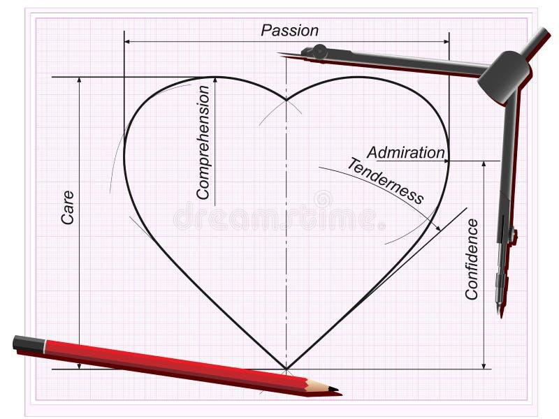 O desenho do coração (com peças que fazem o amor). ilustração do vetor