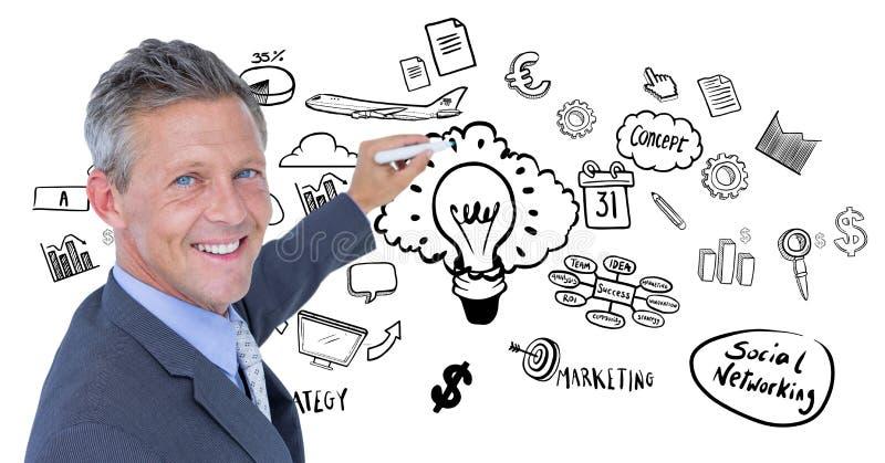 O desenho do homem de negócios contra o negócio rabisca no fundo branco fotos de stock royalty free