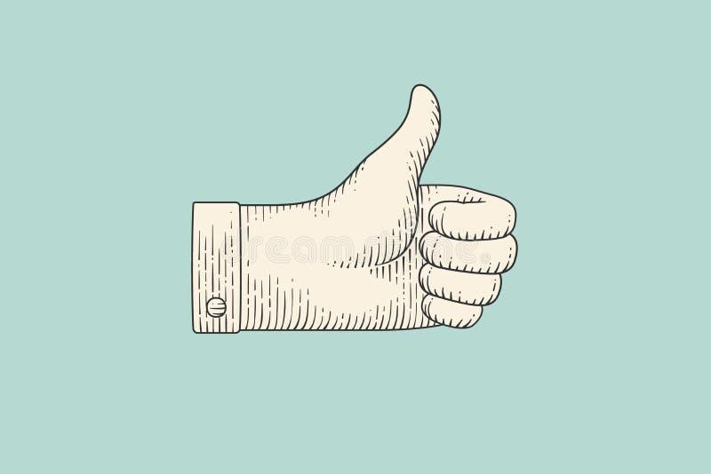 O desenho do sinal da mão manuseia acima no estilo da gravura ilustração stock