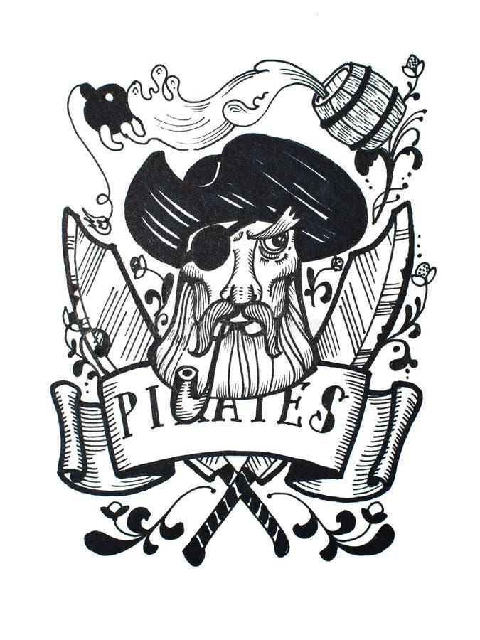O desenho do vintage da pena e da tinta do pirata captain para a tatuagem ou o projeto do t-shirt ilustração do vetor