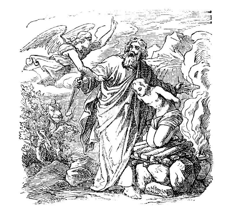 O desenho do vintage de Abraham bíblico está indo sacrificar Isaac, mas é parado pelo anjo ilustração stock