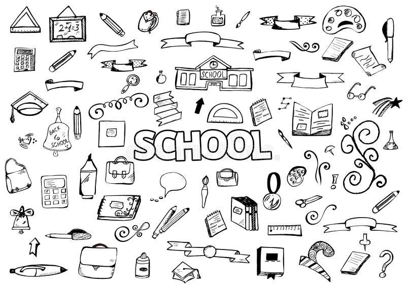 O desenho a mão livre rabisca artigos De volta à escola Ilustração do vetor Ellements do projeto ilustração stock