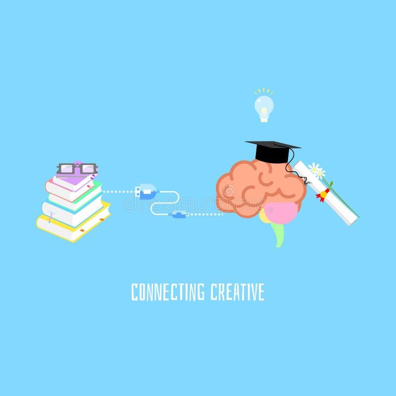 O desenvolvimento conceituando do auto para melhorar o conceito criativo da educação da filosofia, livro que conecta com o cérebr ilustração do vetor