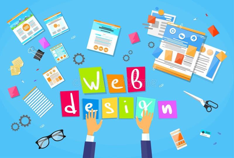 O desenvolvimento da Web cria a construção do local do projeto ilustração do vetor