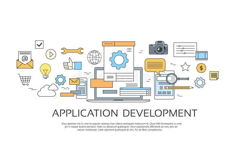 O desenvolvimento de aplicações cria a coleção de programação do ícone do grupo de codificação do local do projeto ilustração do vetor
