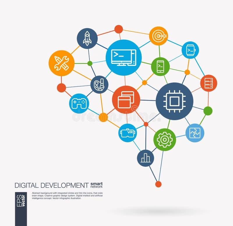 O desenvolvimento do App, código do programm, software, design web integrou ícones do vetor do negócio Ideia esperta do cérebro d ilustração royalty free