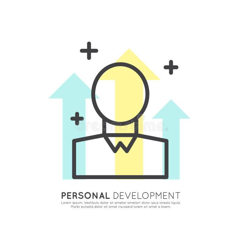 O desenvolvimento, geração da ideia, pensamento criativo, solução esperta, pensa fora da caixa ilustração royalty free
