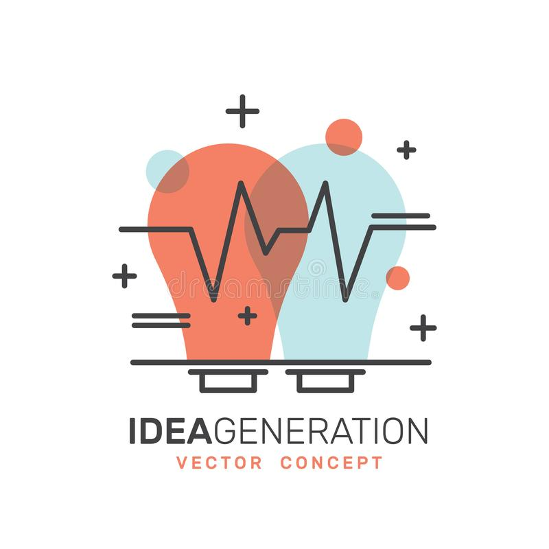 O desenvolvimento, geração da ideia, pensamento criativo, solução esperta, pensa fora da caixa ilustração do vetor