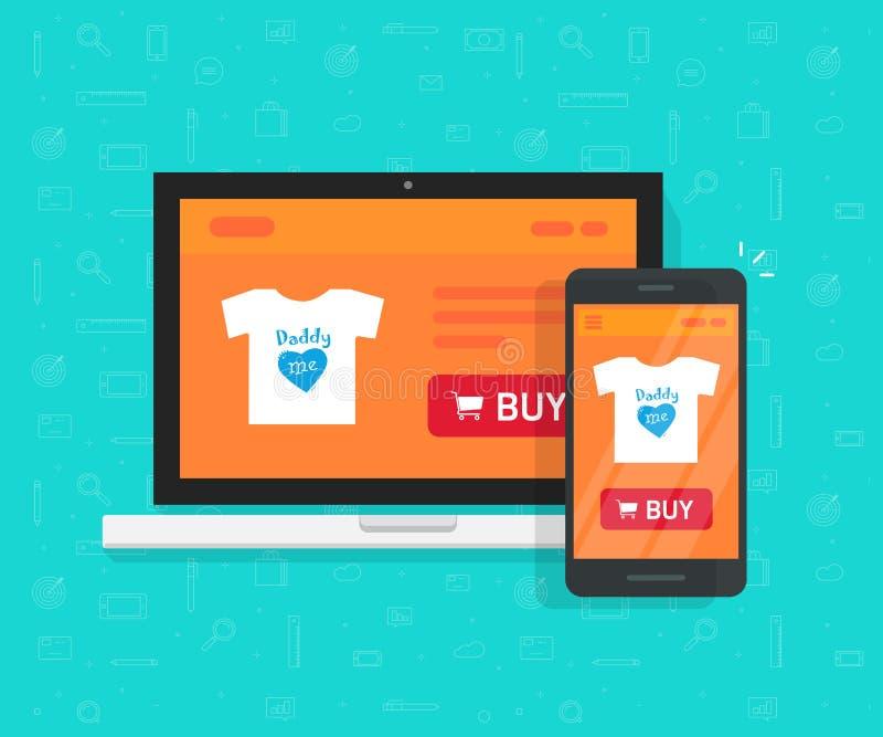 O desenvolvimento responsivo da loja do Internet, projeto, página em linha da site da loja mostrou no portátil e no smartphone ilustração do vetor