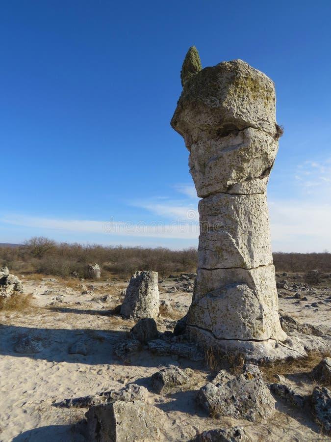 O deserto de pedra ou a floresta de pedra perto de Varna Formou naturalmente rochas da coluna Conto de fadas como a paisagem bulg fotos de stock royalty free