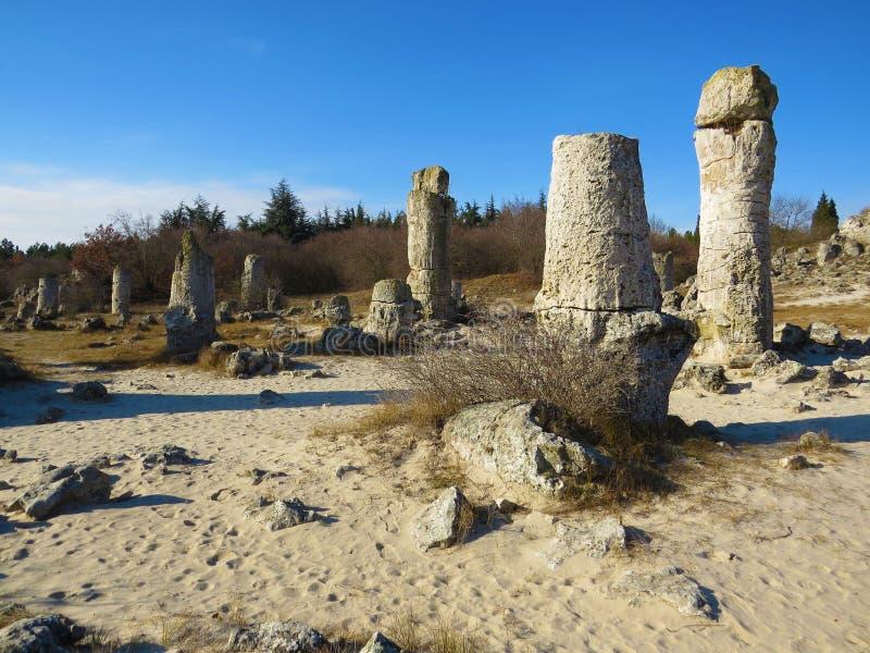 O deserto de pedra ou a floresta de pedra perto de Varna Formou naturalmente rochas da coluna Conto de fadas como a paisagem bulg fotografia de stock
