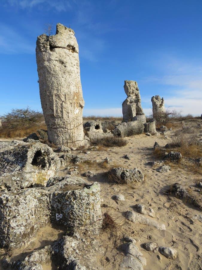 O deserto de pedra ou a floresta de pedra perto de Varna Formou naturalmente rochas da coluna Conto de fadas como a paisagem bulg fotos de stock