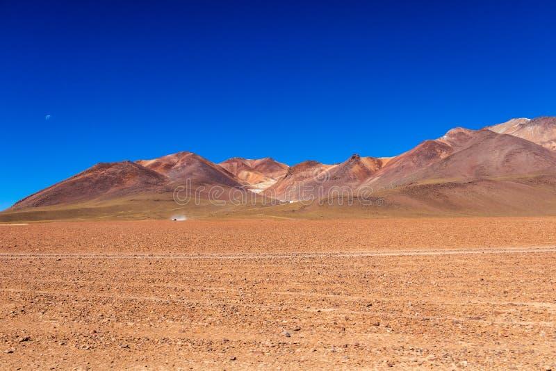 O deserto de Salvador Dali igualmente conhecido como Dali Valley, em Eduardo Avaroa Park em Bolívia, Andes em Ámérica do Sul fotos de stock royalty free