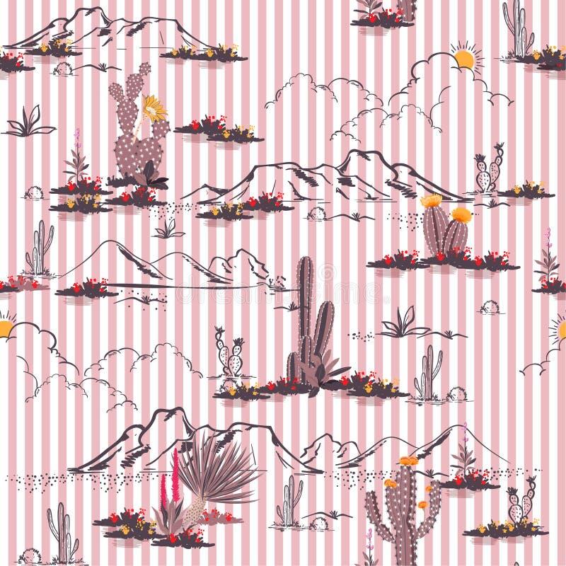O deserto de Summersweety com cacto e montanha floresce p sem emenda ilustração royalty free