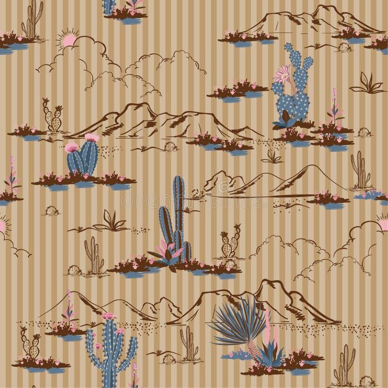 O deserto retro bonito com cacto e montanha floresce seamles ilustração royalty free