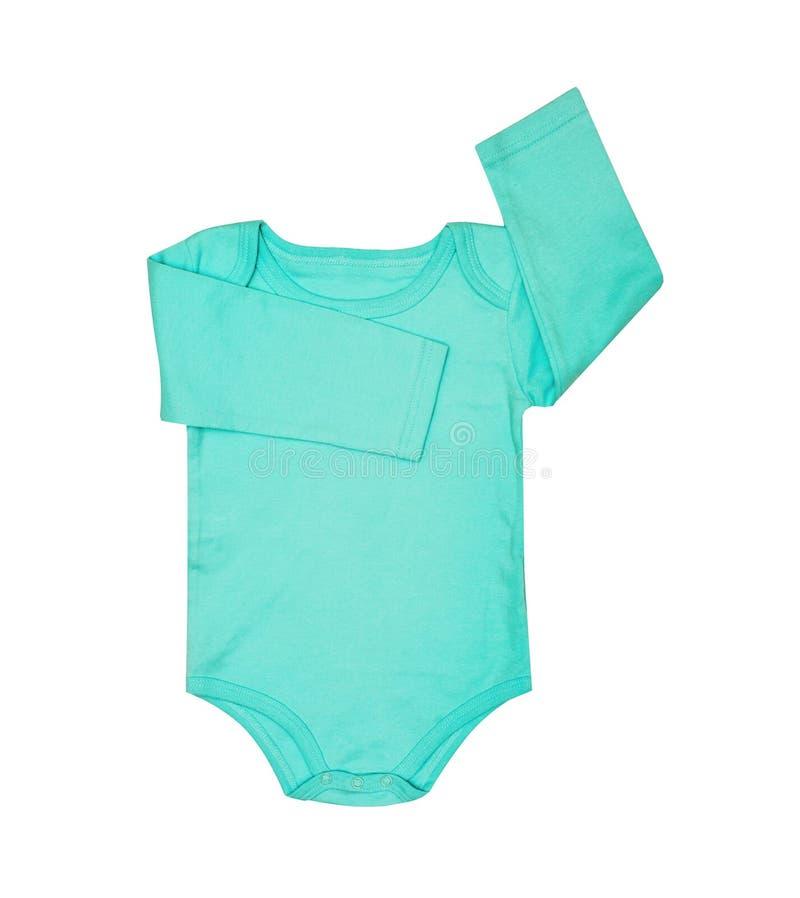 O desgaste das crianças - romper da roupa do bodysuit de turquesa do bebê da criança, dorminhoco fotos de stock