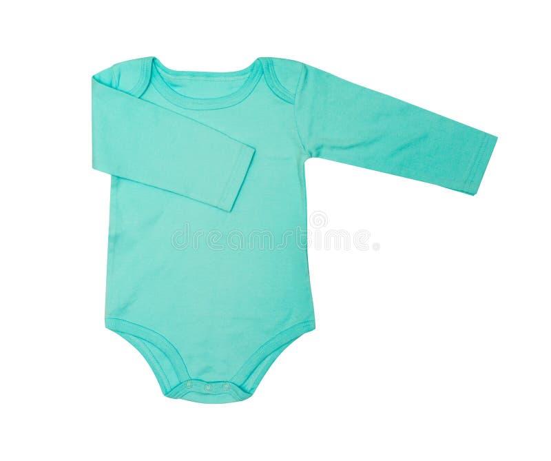 O desgaste das crianças - romper da roupa do bodysuit de turquesa do bebê da criança, dorminhoco imagens de stock royalty free