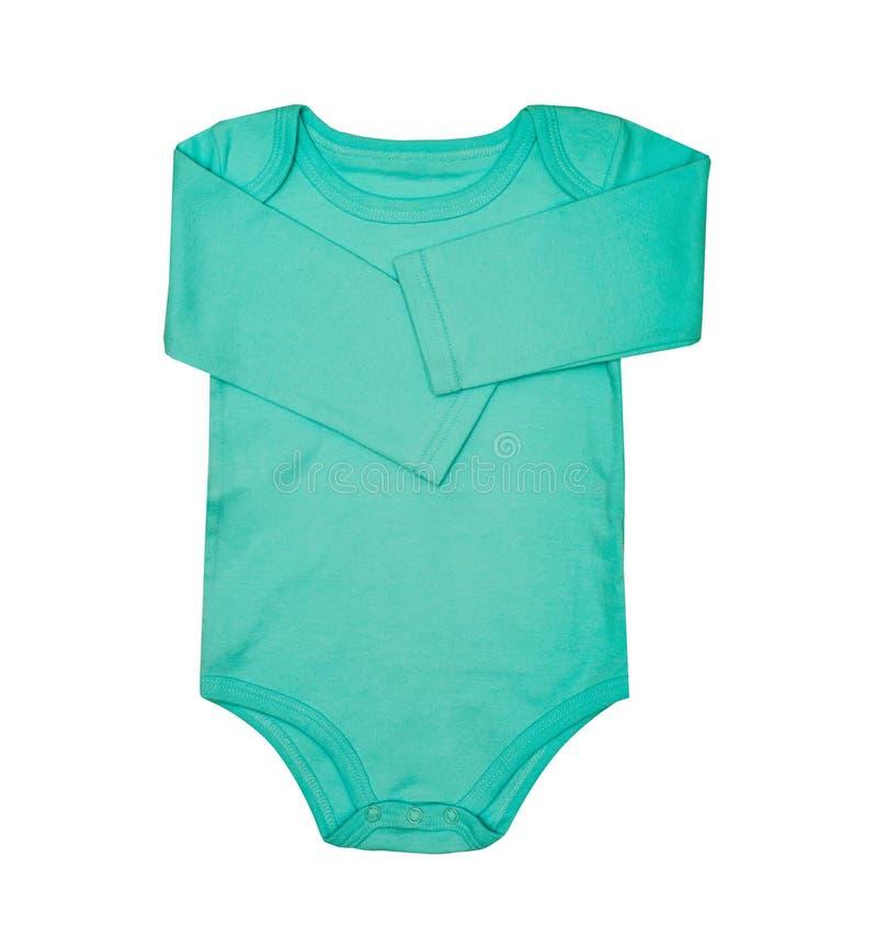 O desgaste das crianças - romper da roupa do bodysuit de turquesa do bebê da criança, dorminhoco imagens de stock