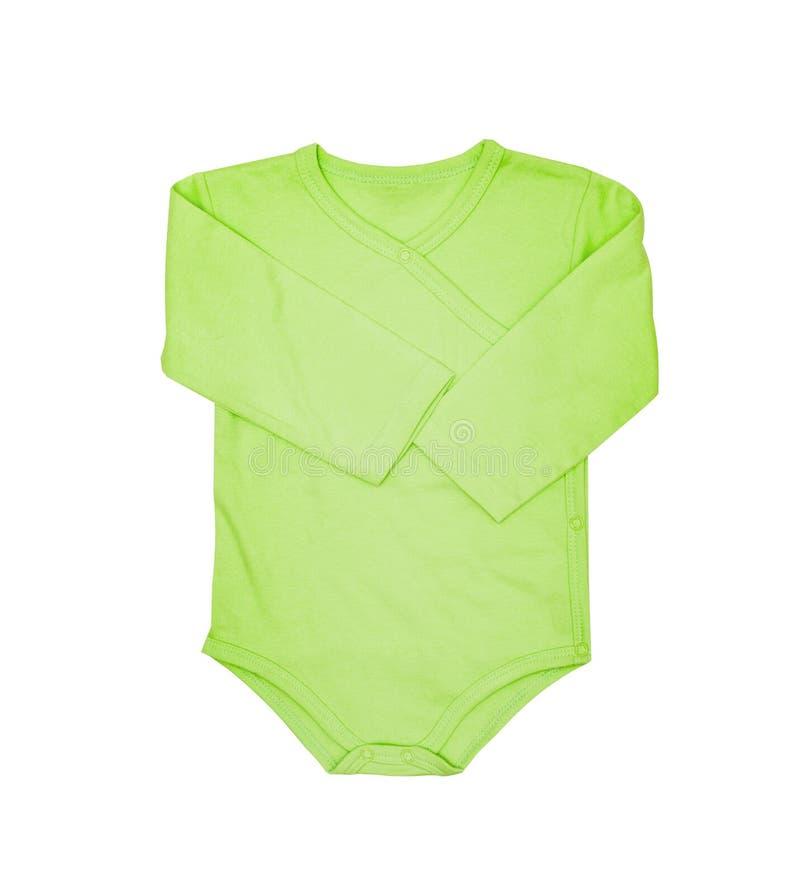 O desgaste das crianças - romper da roupa do bodysuit do verde do bebê da criança, dorminhoco imagem de stock