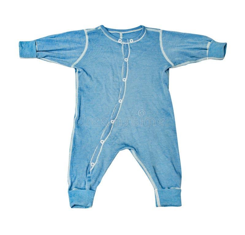 O desgaste das crianças - romper de lã da roupa do bodysuit dos azuis bebê da criança fotografia de stock royalty free