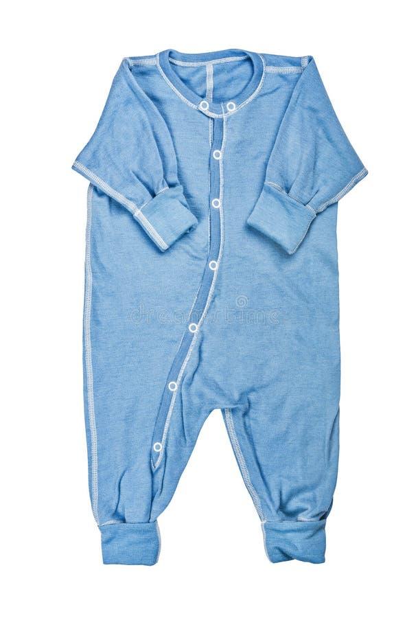 O desgaste das crianças - romper de lã da roupa do bodysuit dos azuis bebê da criança, dorminhoco fotografia de stock royalty free