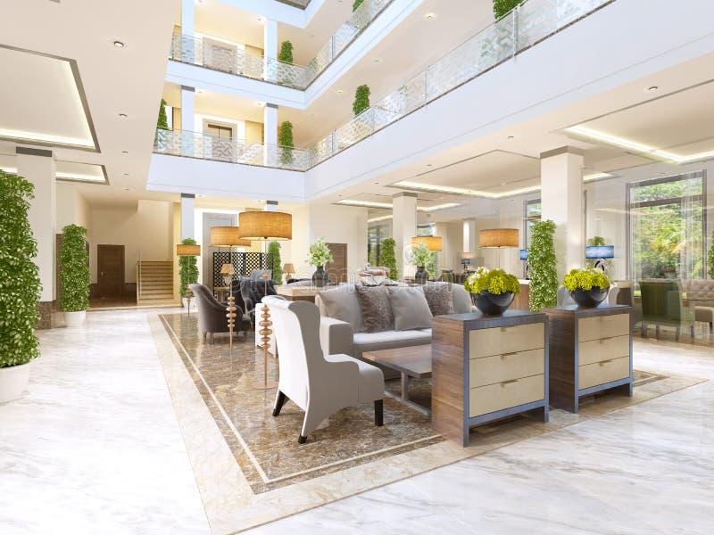 O design de interiores da área da sala de estar com uma chaminé ilustração royalty free