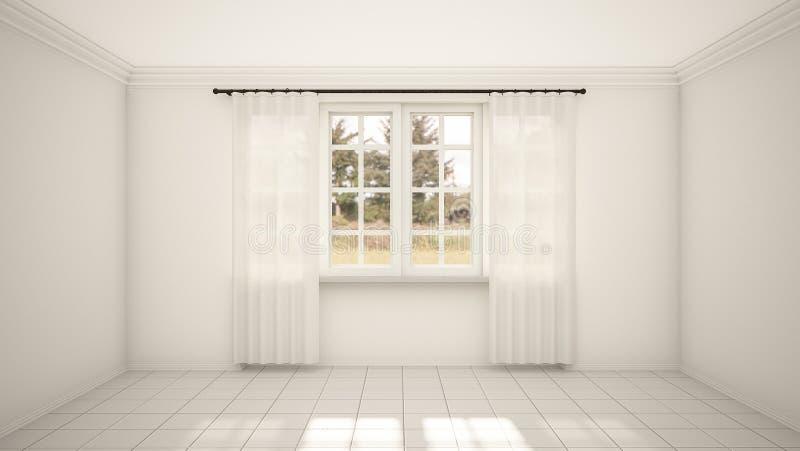 O design de interiores do estilo moderno vazio da sala e da sala de visitas com janela e o assoalho de telha branco 3d rendem ilustração do vetor