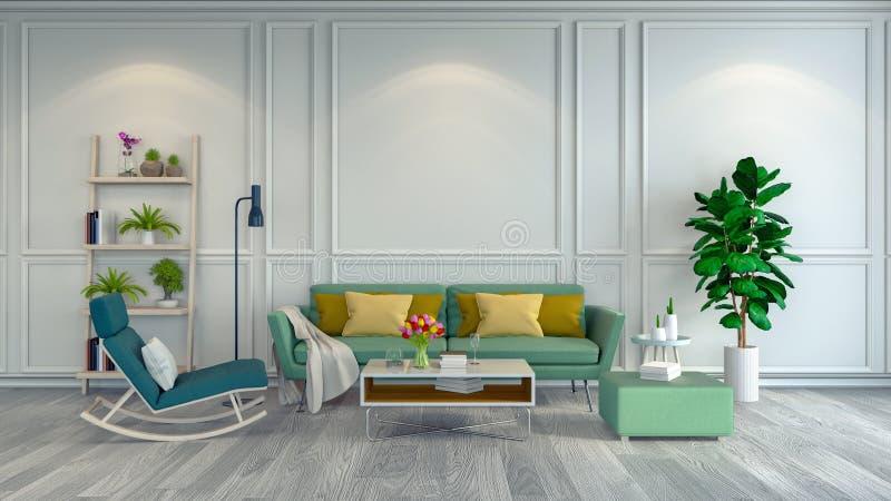 O design de interiores minimalista da sala, a poltrona verde e o sofá no assoalho branco e no quadro branco muram o rende de /3d ilustração stock