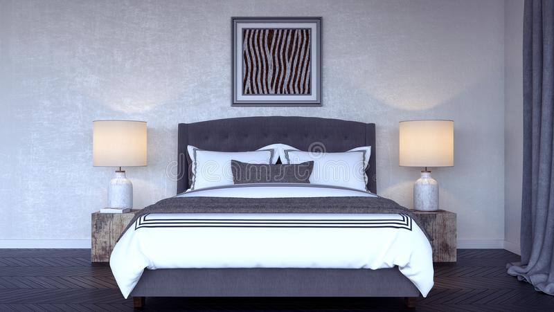 O design de interiores moderno 3d do quarto rende ilustração do vetor