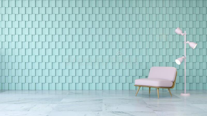 O design de interiores moderno da sala, a cadeira cor-de-rosa no assoalho de mármore e a parede quadrada verde, 3d rendem ilustração do vetor