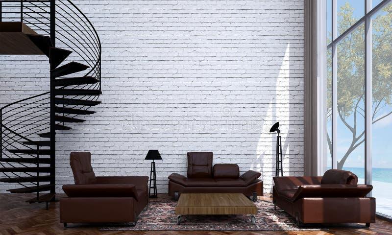 O design de interiores moderno da sala de estar e da sala de visitas e a parede de tijolo texture a opinião do fundo e do mar ilustração stock
