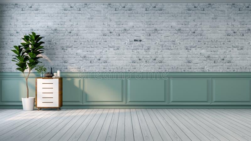O design de interiores moderno da sala, o sofá azul da tela no revestimento de mármore e o azul com a parede preta /3d da malha d ilustração royalty free