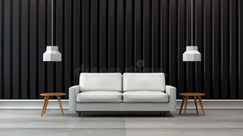 O design de interiores moderno da sala de visitas do sótão, o sofá branco com parede preta /3d rende ilustração stock