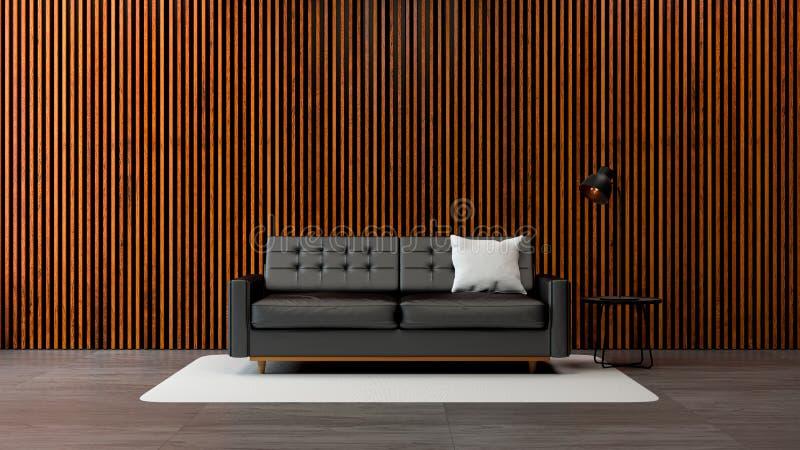 O design de interiores moderno da sala de visitas do sótão, o sofá preto com a parede de madeira velha e flooring/3d concretos re ilustração royalty free