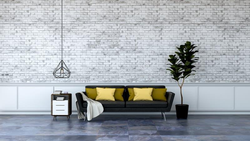 O design de interiores moderno do sótão, a mobília preta no revestimento de mármore e a parede de tijolo branca /3d rendem ilustração stock
