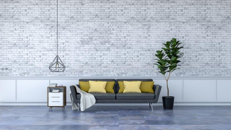 O design de interiores moderno do sótão, a mobília preta no revestimento de mármore e a parede de tijolo branca /3d rendem ilustração do vetor