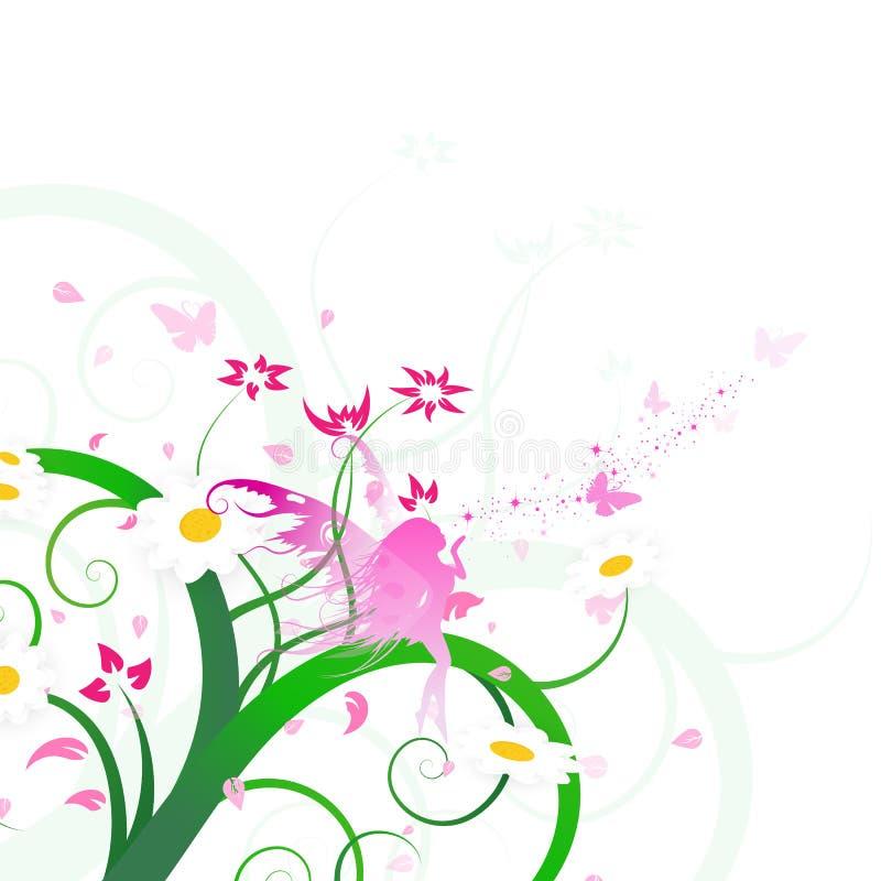 O design floral, a fantasia feericamente, a borboleta e as flores dispersam a arte ilustração royalty free