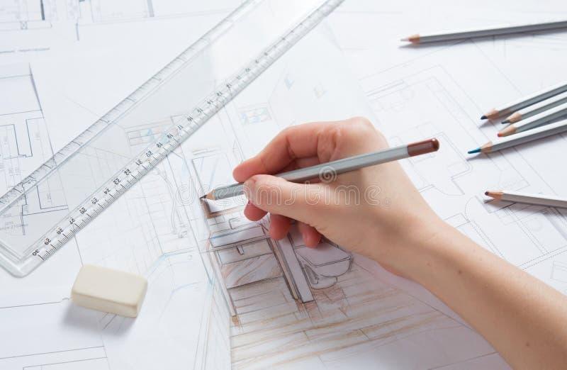 Download Detalhes Do Desenho Da Mão Do Interior Ilustração Stock - Ilustração de arquitetura, desenhador: 29834207