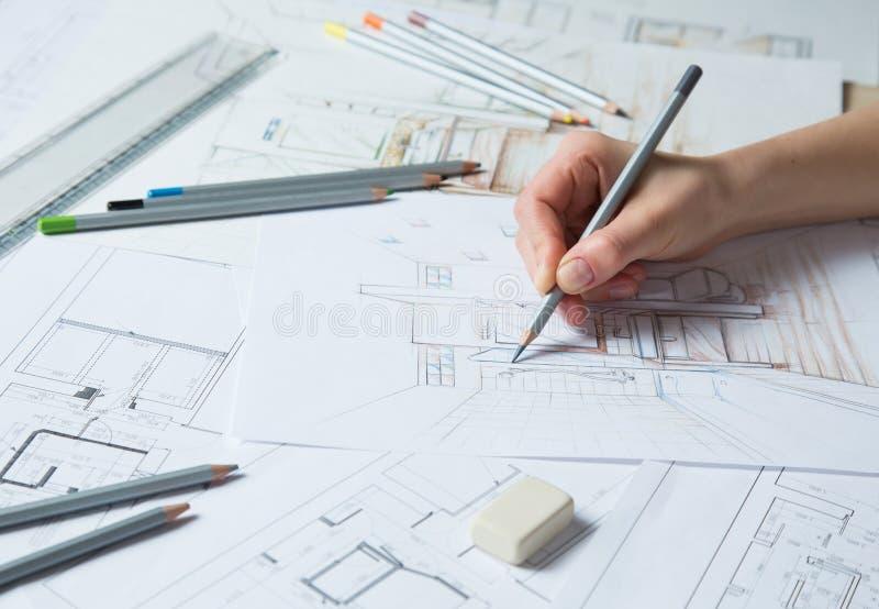 Download Detalhes Do Desenho Da Mão De Interior Ilustração Stock - Ilustração de construtor, desenhador: 29834272