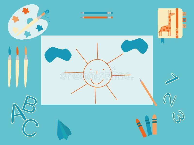 O desktop do bebê ilustração royalty free
