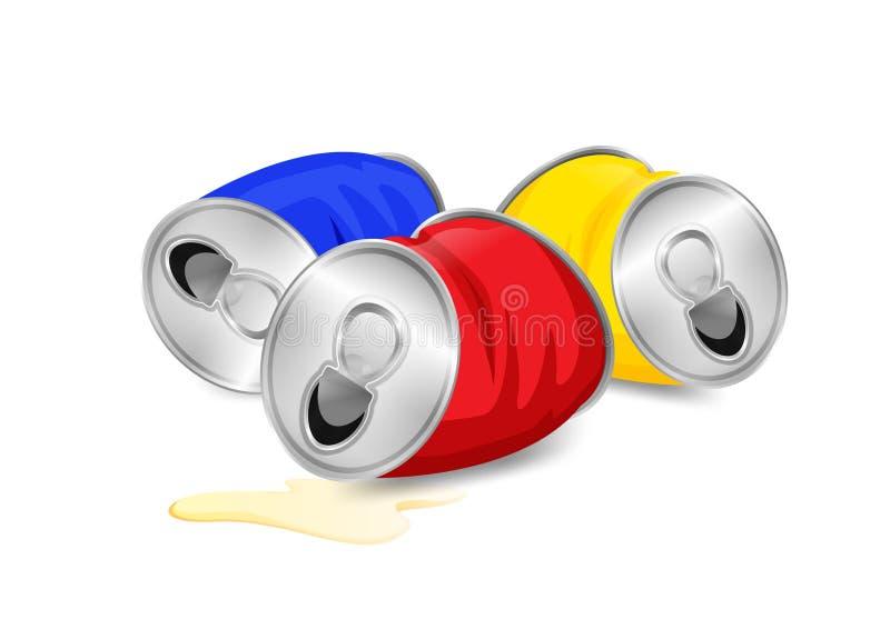 O desperd?cio enlatado de alum?nio, as cores azuis do desperd?cio do lixo e amarelas vermelhas enlatadas no fundo branco, usaram  ilustração do vetor