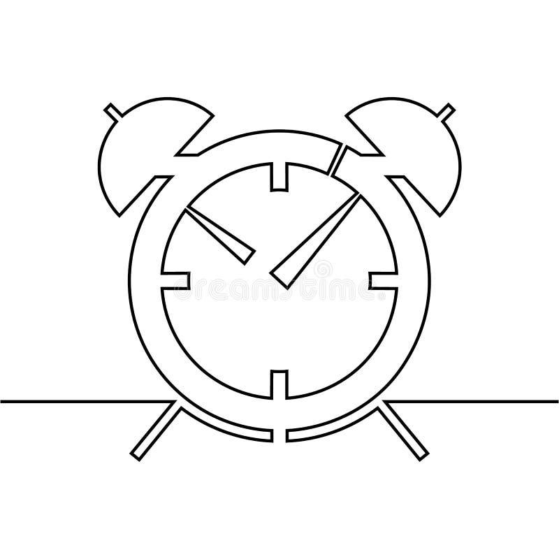 O despertador é tirado por uma linha em um fundo branco Único a lápis desenho Linha contínua Vetor ilustração stock