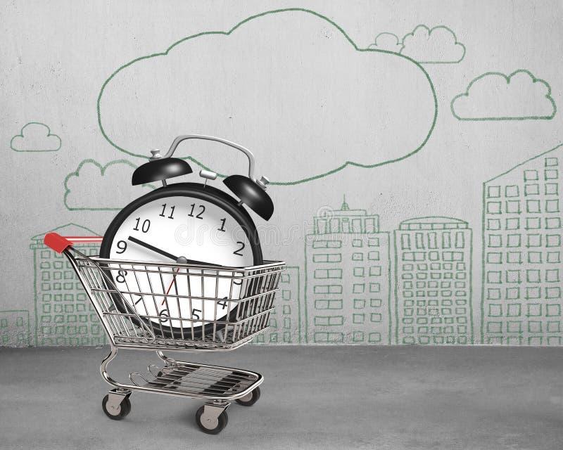 O despertador no carrinho de compras com garatujas mura a sala concreta ilustração royalty free