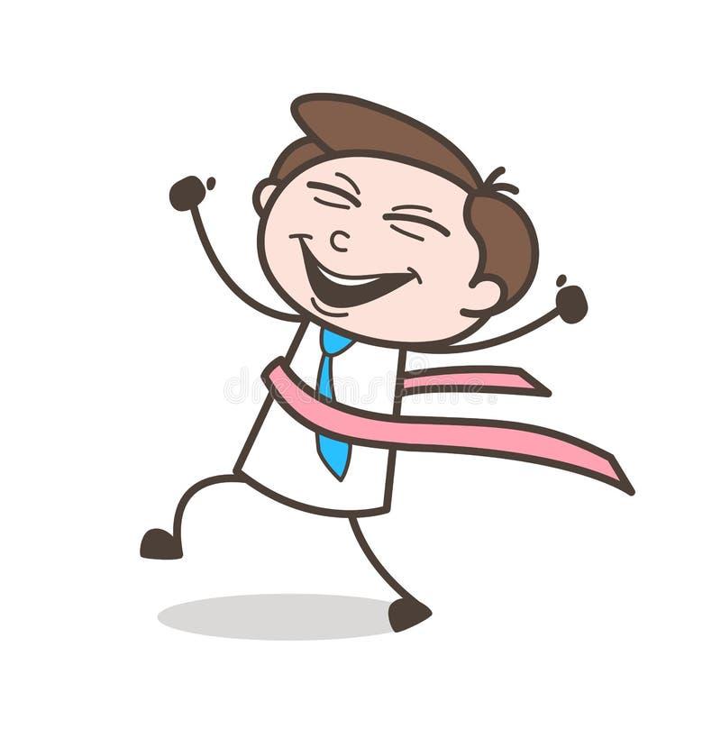 O desportista feliz do corredor dos desenhos animados ganha a raça ilustração do vetor