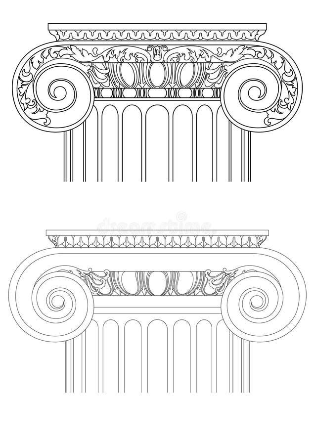O detalhe da arquitetura, vector a coluna clássica ilustração do vetor